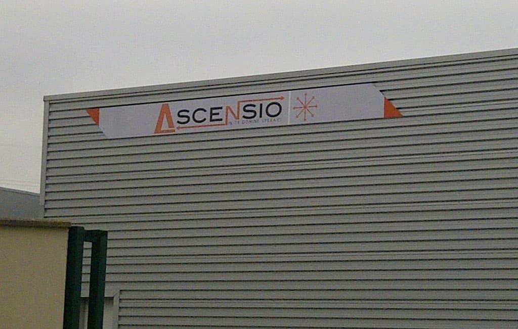 Enseigne en Alu Dibond pour la société Ascensio